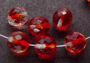 Best.Nr.:27526 facettierte Glasperlen kristall rot