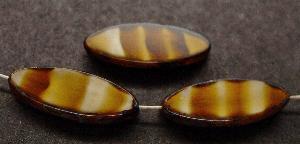 Best.Nr.:67954 Glasperlen / Table Cut Beads geschliffen tigerauge mit picasso finish,  hergestellt in Gablonz / Tschechien