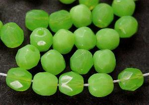 Best.Nr.:26511 facettierte Glasperlen Opalglas grün