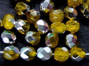 Best.Nr.:28364 facettierte Glasperlen gelb mit Silber Veredelung