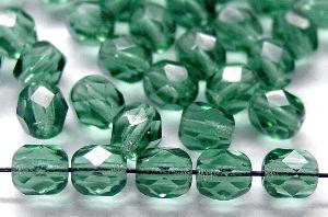 Best.Nr.:27525 Glasperlen facettiert  russisch grün transp.,  hergestellt in Gablonz / Tschechien