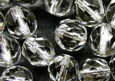 Best.Nr.:29014  facettierte Glasperlen  kristall mit Silbereinzug