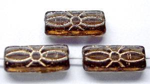 Best.Nr.:59179 vintage style Glasperlen mit Blütenornament, braun mit Goldauflage, nach alten Vorlagen aus den 1930 Jahren in Gablonz / Tschechien neu gefertigt