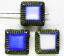 Best.Nr.:67043  Glasperlen / Table Cut Beads  geschliffen mit Travertin-Veredelung