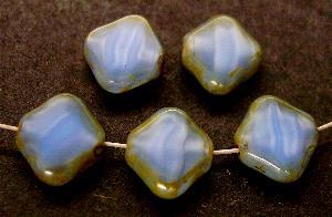 Best.Nr.:671012 Glasperlen / Table Cut Beads Perlettglas geschliffen mit Travertin-Veredelung