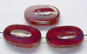 Best.Nr.:67970 Glasperlen / Table Cut Beads geschliffen smokyfuchsia mit Travertin-Veredelung