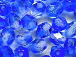 Best.Nr.:27371 facettierte Glasperlen  Zweifarbenglas kristall blau transp.,  hergestellt in Gablonz / Tschechien