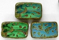 Best.Nr.:67077  Glasperlen / Table Cut Beads  geschliffen mit Travertin-Veredelung
