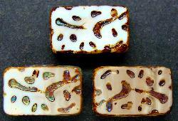 Best.Nr.:67074 Glasperlen / Table Cut Beads  geschliffen mit Travertin-Veredelung
