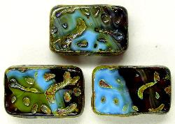 Best.Nr.:67091  Glasperlen / Table Cut Beads  geschliffen blau topas mit picasso finish, hergestellt in Gablonz / Tschechien