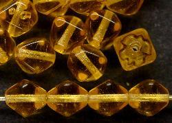 Best.Nr.:54063  Glasperlen  Doppelpyramide vierkantig  honiggelb