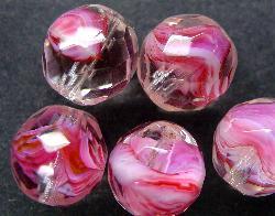Best.Nr.:27378  facettierte Glasperlen  rosa weiß kristall