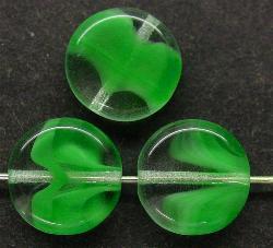 Best.Nr.:47096  Glasperlen Scheibe  kristall grün, hergestellt in Gablonz / Tschechien