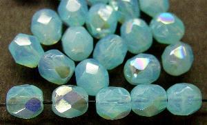 Best.Nr.:26488 facettierte Glasperlen hellblau opal mit AB