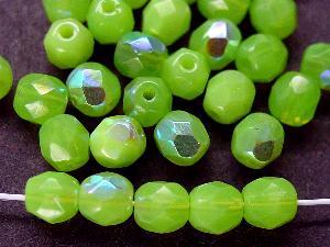 Best.Nr.:26419 facettierte Glasperlen Opalglas grün mit AB