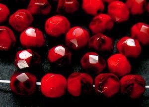 Best.Nr.:26506 facettierte Glasperlen rot schwarz meliert
