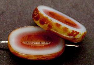 Best.Nr.:671035 Glasperlen / Table Cut Beads geschliffen blassblau rose` mit Travertin-Veredelung