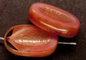 Best.Nr.:671034 Glasperlen / Table Cut Beads geschliffen altrosa mit Travertin-Veredelung