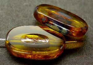 Best.Nr.:67767 Glasperlen / Table Cut Beads geschliffen topas hell mit Travertin-Veredelung