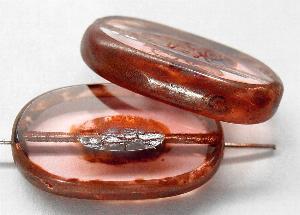 Best.Nr.:67310 Glasperlen / Table Cut Beads geschliffen violett hell mit Travertin-Veredelung