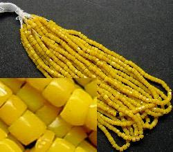 Best.Nr.:62048 3-Cutbeads in den1920/30 Jahren in Gablonz/Böhmen hergestellt gelb