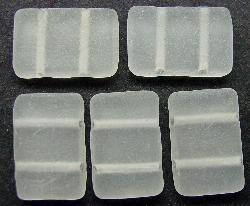 Best.Nr.:63106 Glasperlen mit zwei Löchern kristall mattiert,  in den 1920/30 Jahren in Gablonz/Böhmen hergestellt