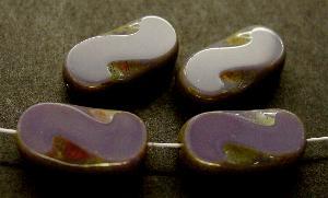 Best.Nr.:671045 Glasperlen / Table Cut Beads violett, geschliffen mit picasso finish
