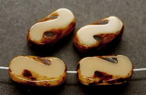 Best.Nr.:671044 Glasperlen / Table Cut Beads hellbraun beige, geschliffen mit picasso finish