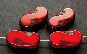 Best.Nr.:671049 Glasperlen / Table Cut Beads rot, geschliffen mit picasso finish