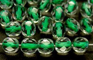 Best.Nr.:29029 facettierte Glasperlen kristall mit Farbeinzug grün