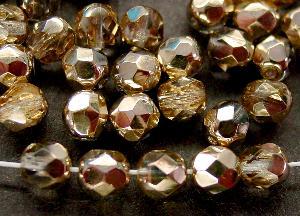 Best.Nr.:28271 facettierte Glasperlen kristall/eine Seite mit metallic Veredelung