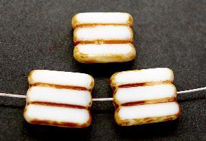 Best.Nr.:67469 Glasperlen / Table Cut Beads weiß, geschliffen mit picasso finish