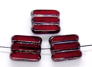 Best.Nr.:67358 Glasperlen / Table Cut Beads granatrot, geschliffen mit picasso finish
