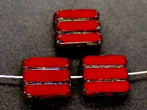 Best.Nr.:671004 Glasperlen / Table Cut Beads rot opak, geschliffen mit picasso finish