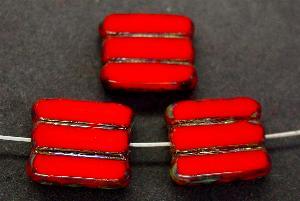 Best.Nr.:67993 Glasperlen / Table Cut Beads hellrot opak, geschliffen mit picasso finish