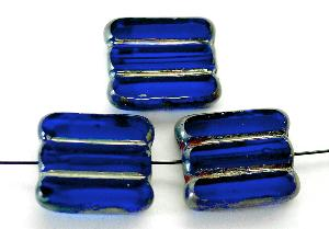 Best.Nr.:67996 Glasperlen / Table Cut Beads dunkelblau transparent, geschliffen mit picasso finish