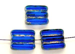 Best.Nr.:671057 Glasperlen / Table Cut Beads blau transparent, geschliffen mit picasso finish