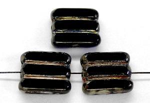 Best.Nr.:671058 Glasperlen / Table Cut Beads schwarz, geschliffen mit picasso finish