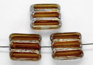 Best.Nr.:671060 Glasperlen / Table Cut Beads braun transparent, geschliffen mit picasso finish