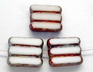 Best.Nr.:671061 Glasperlen / Table Cut Beads alabasterweiß, geschliffen mit picasso finish