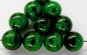 Best.Nr.:58042 Glasperlen rund / Wachsperlen grün marmoriert, hergestellt in Gablonz / Tschechien
