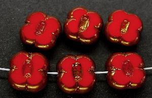 Best.Nr.:671068 Glasperlen / Table Cut Beads geschliffen rot opak, Rand mit Bronzeauflage