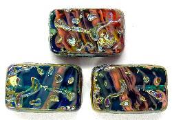 Best.Nr.:67792 Glasperlen / Table Cut Beads  geschliffen mit Travertin-Veredelung, hergestellt in Gablonz / Tschechien