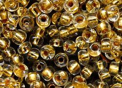 Best.Nr.:12108 Rocailles aus Gablonz / Böhmen kristall mit Goldeinzug