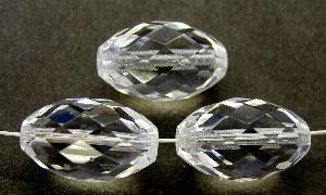 Best.Nr.:27620 facettierte Glasperlen Oliven kristall, hergestellt in Gablonz / Tschechien