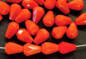 Best.Nr.:26311 facettierte Glasperlen Tropfen orangerot