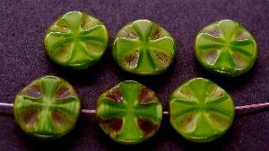 Best.Nr.:671072 Glasperlen / Table Cut Beads Perlettglas grün, geschliffen mit picasso finish