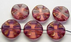 Best.Nr.:671078 Glasperlen / Table Cut Beads geschliffen violett, Rand mit Bronzeauflage