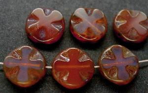 Best.Nr.:671077 Glasperlen / Table Cut Beads Opalglas rosa, geschliffen mit picasso finish