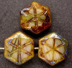 Best.Nr.:67123 Glasperlen / Table Cut Beads  geschliffen mit Travertin-Veredelung